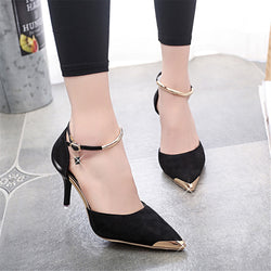 Women Suede Thin Heel Pumps Pointed Toe - K&M ONE STOP SHOP