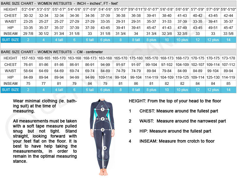 Image result for bare womens wetsuit size chart