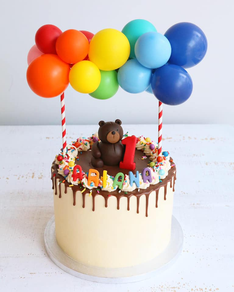 Rainbow Balloon Teddy 1st Birthday Cake