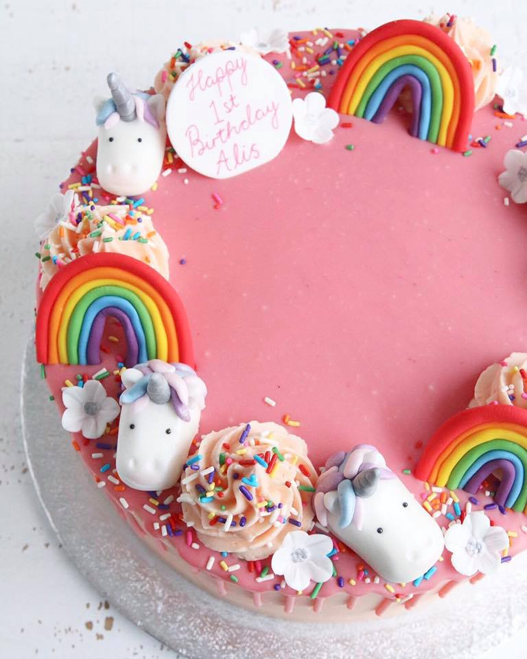 Rainbow Unicorns Flowers Cake