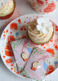 Illustrated Plate Featuring Cake & Cupcakes with Cupcake Pins