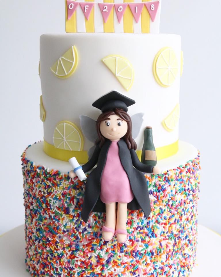 Lemonade Stand Graduation Cake Close Up