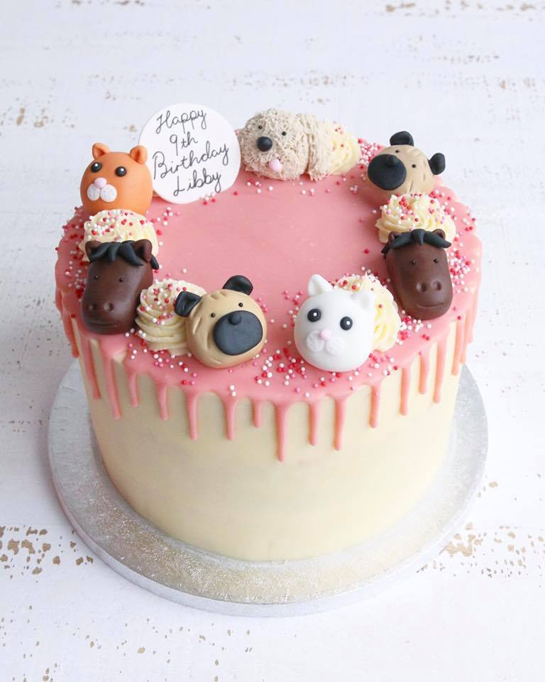 Animal Drip Cake with Dogs, Cats and Horses