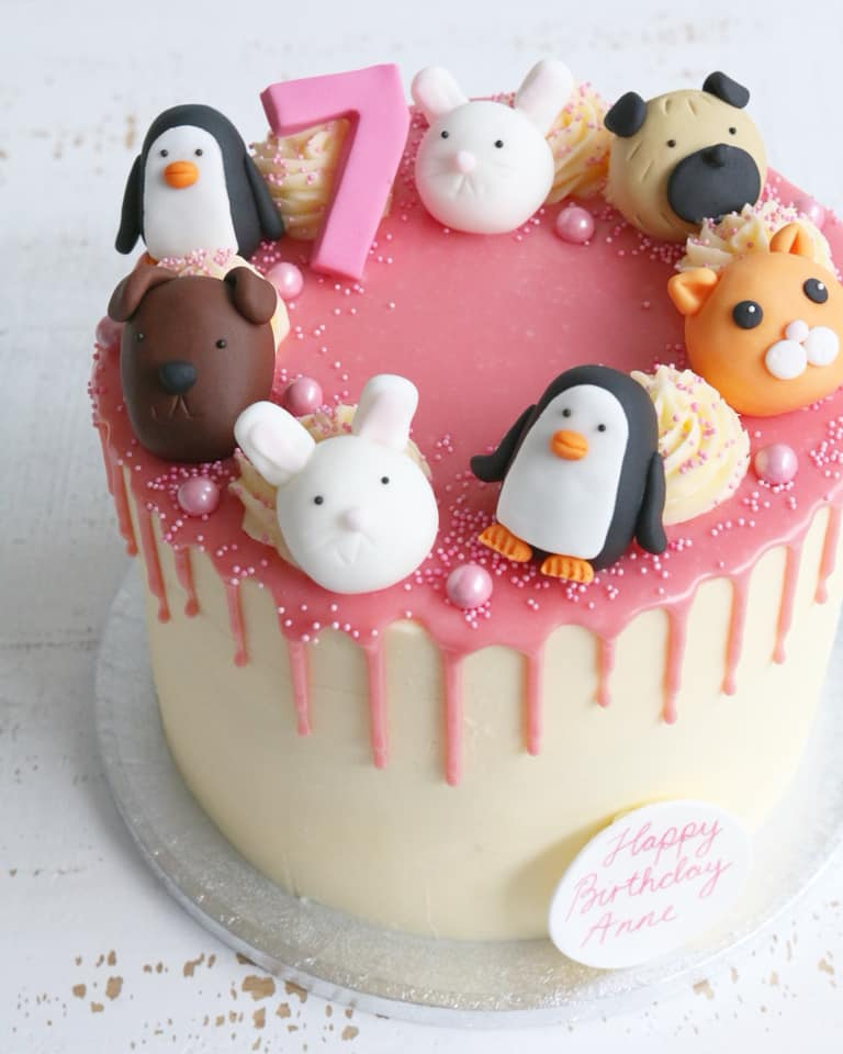 Animal Drip Cake with Penguins, Dogs, Cats and Bunnies