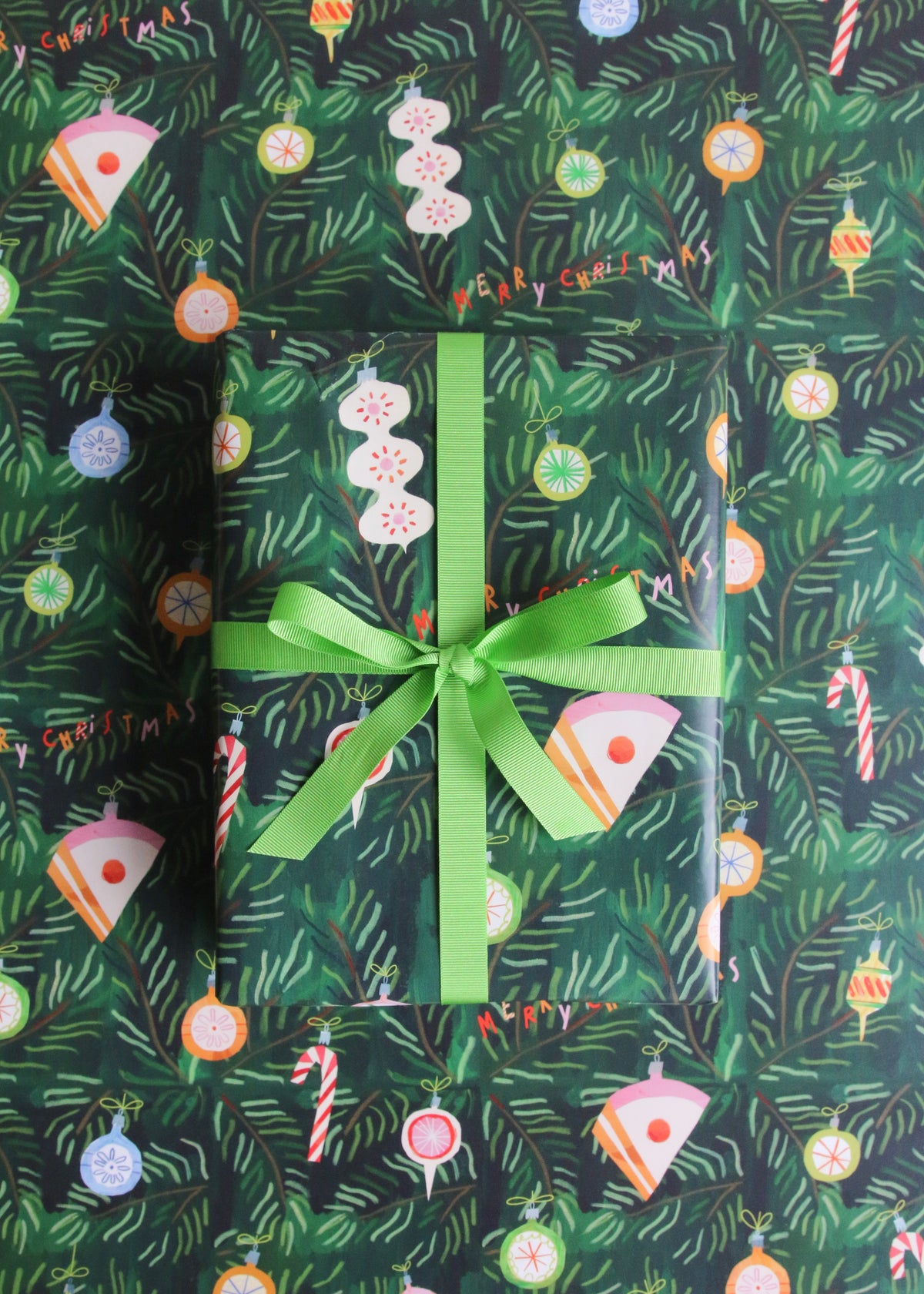 Christmas 'Cake The Halls' Bauble Wrapping Paper