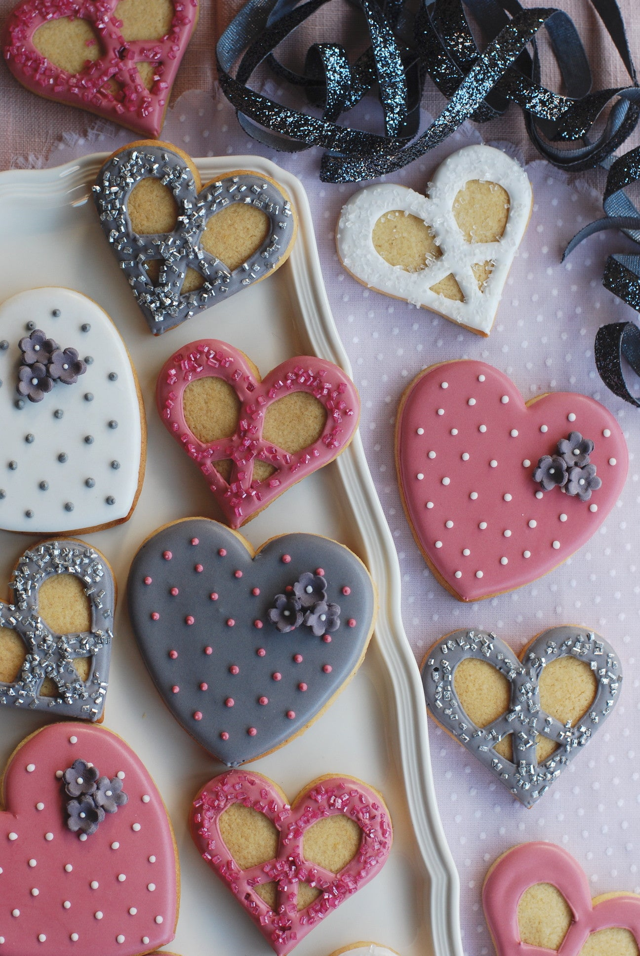 Pink Grey and White Heart and Peace Sign Biscuits