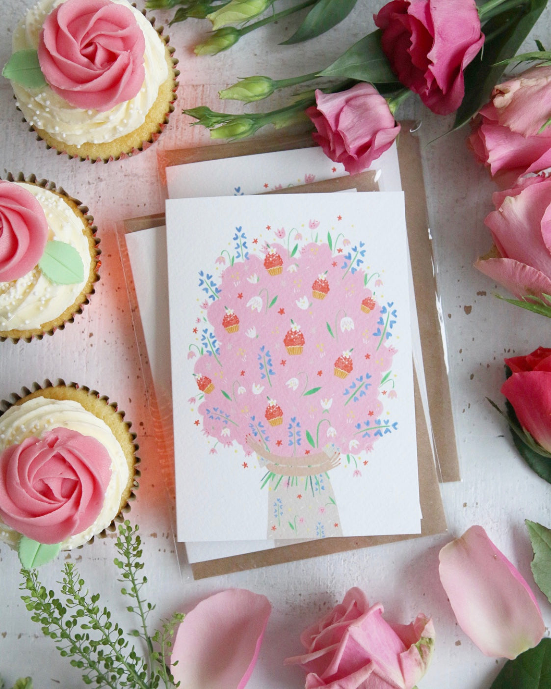 Bouquet of Cupcakes Greeting Card