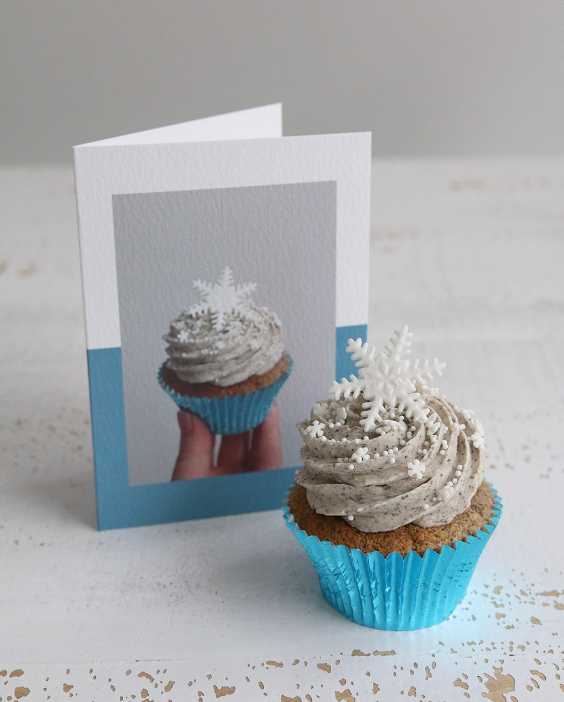 Snowflake Cupcake with Snowflake Cupcake Photo Christmas Card