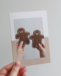 Gingerbread Man and Woman Photo Christmas Card