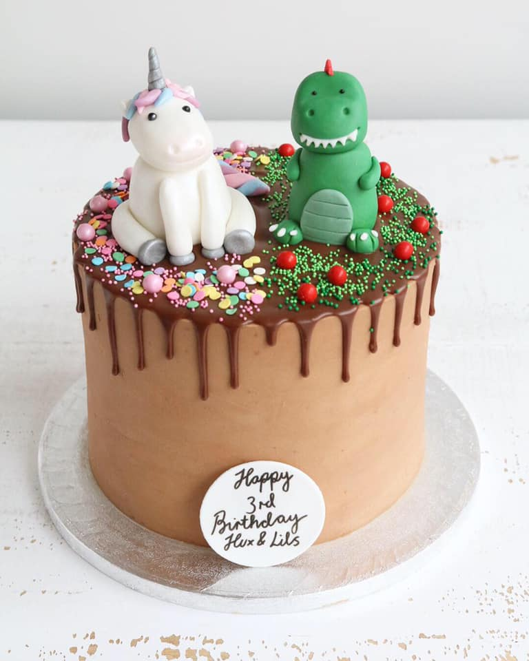 Unicorn and Dinosaur Drip Cake