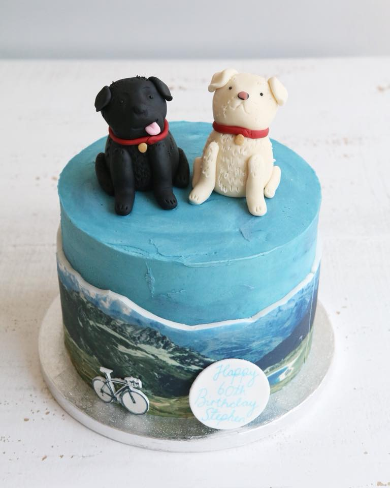 Dog and Cycling Mountain Cake