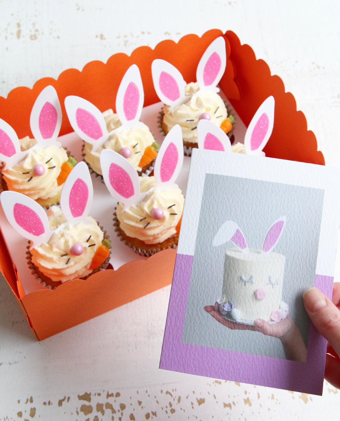 Box of Easter Bunny Cupcakes with Easter Bunny Cake Photo Card