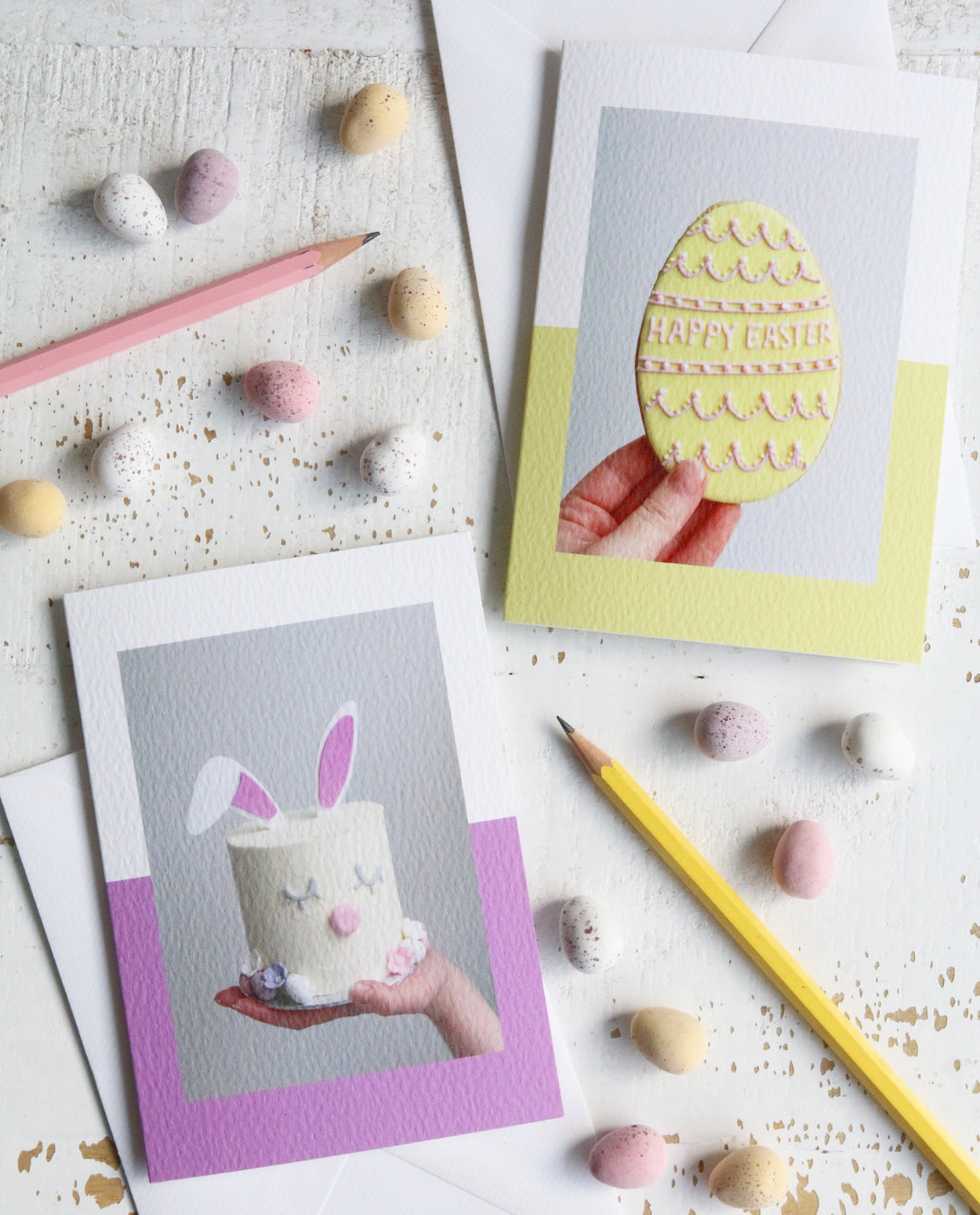 Easter Bunny Cake & Easter Egg Biscuit Photo Cards