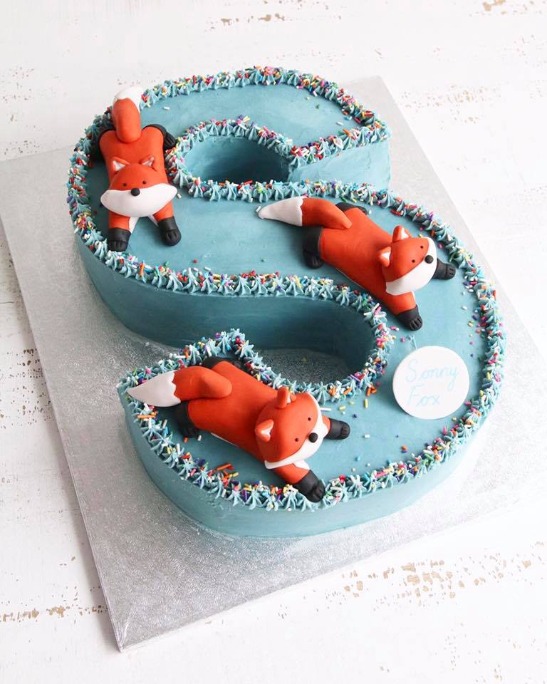 Letter S Cake with Foxes