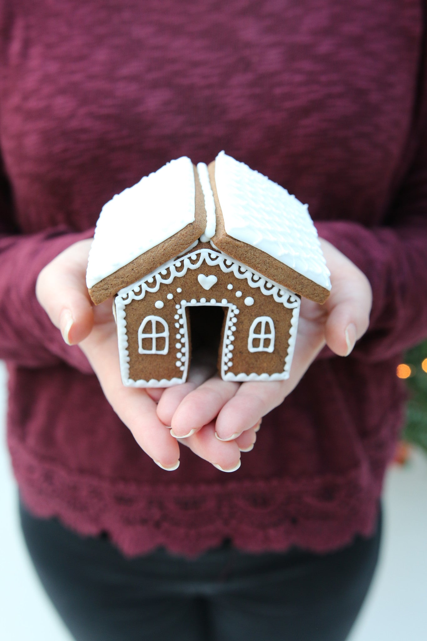 Christmas Mini Gingerbread House in Hands