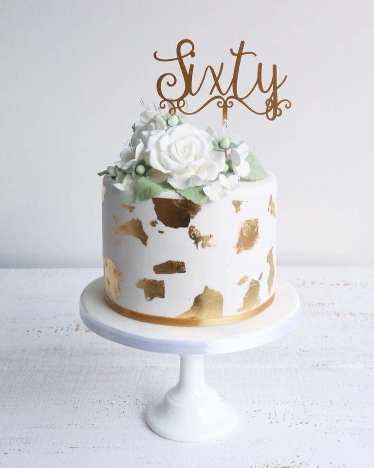 Fondant Gold Leaf & White Flowers 60th Birthday Cake
