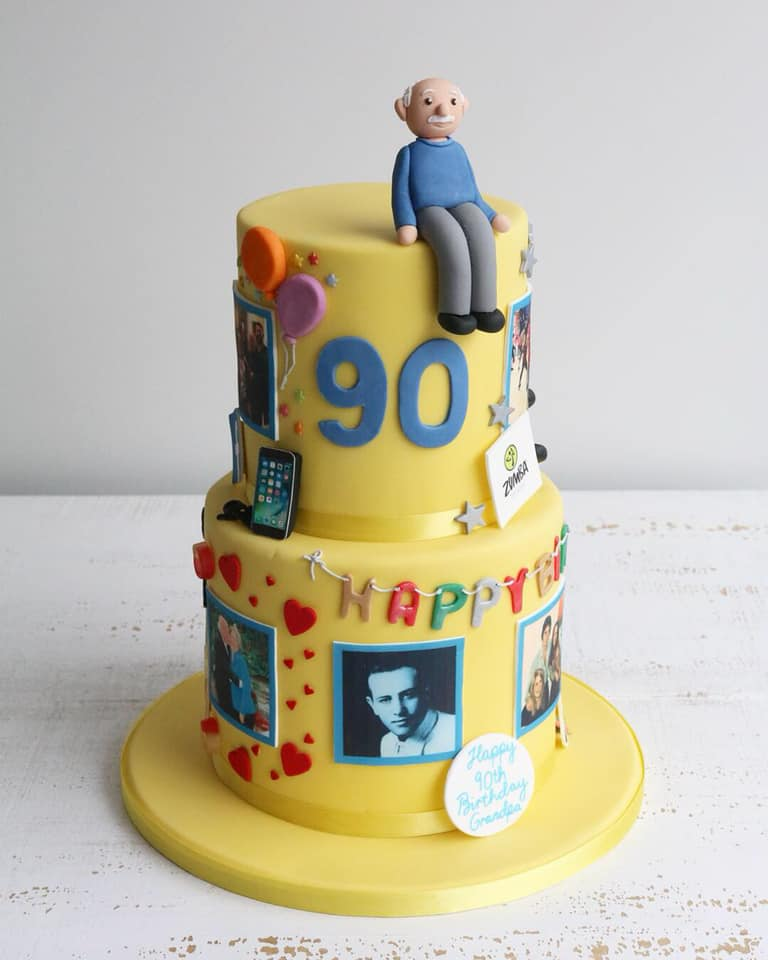 Fondant 90th Birthday Figure & Photos Cake
