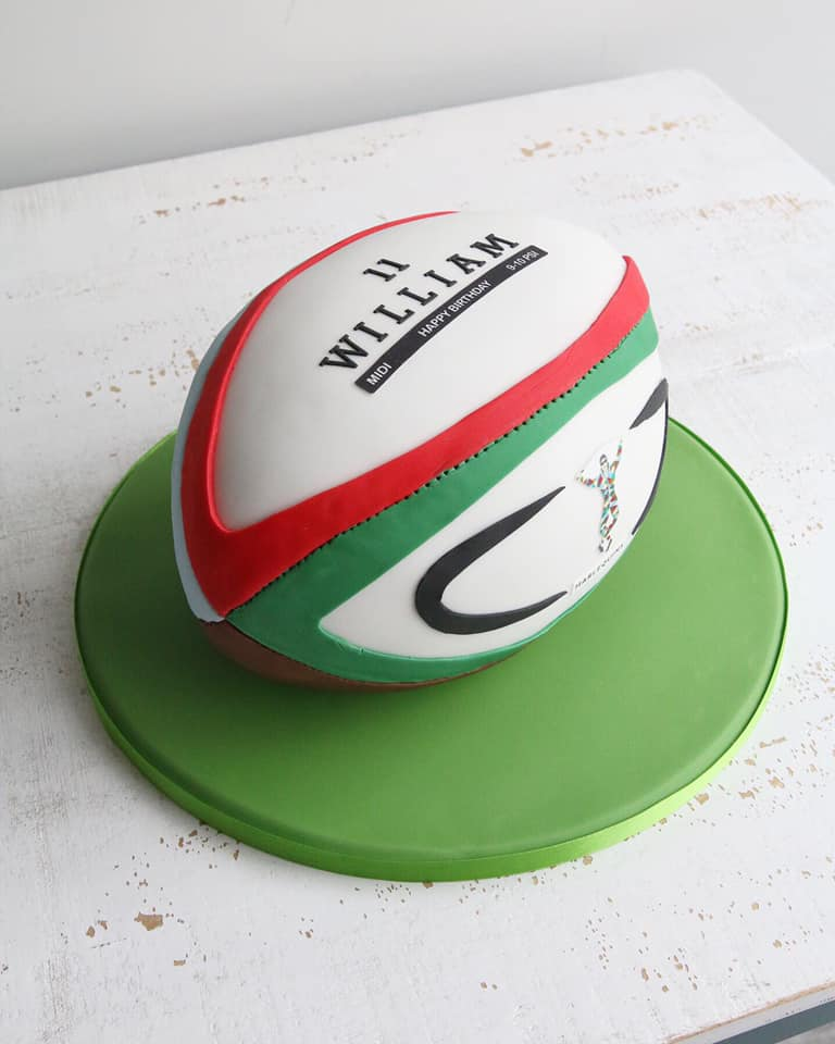 Fondant Harlequins Rugby Ball Cake