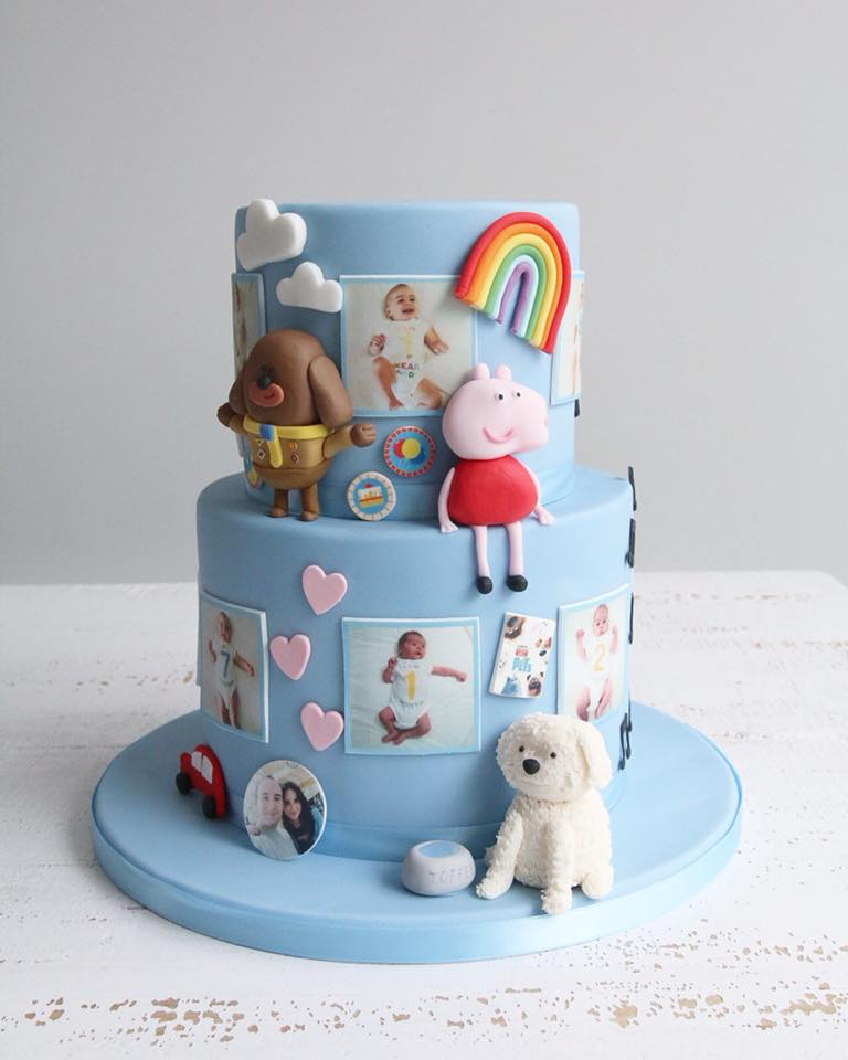 1st Birthday Blue Photo & Favourite Character Cake
