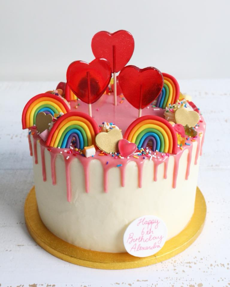 Rainbow and Heart Lollipops Drip Cake