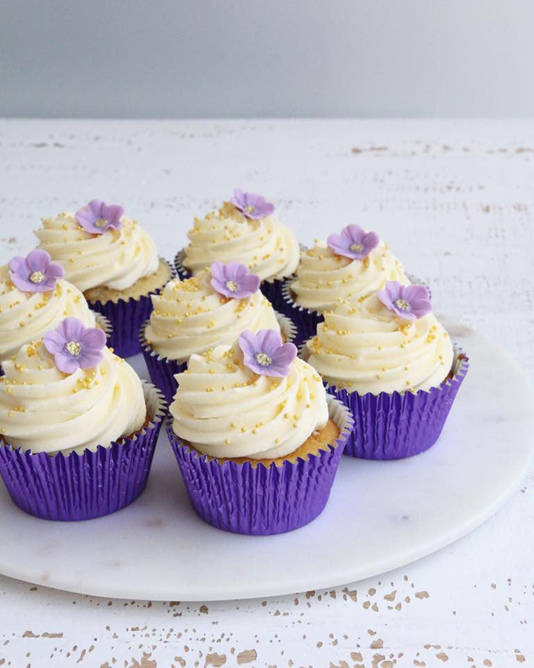 Vanilla Cupcake with Purple Flowers