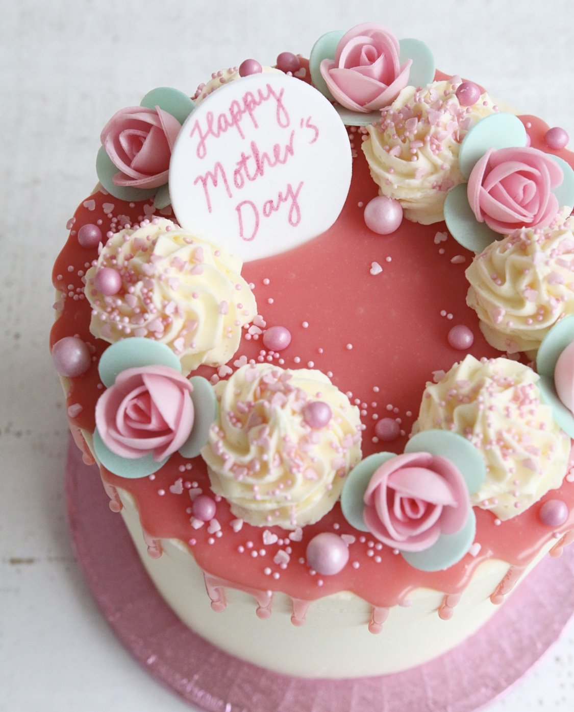Mother's Day Roses Drip Cake Close Up