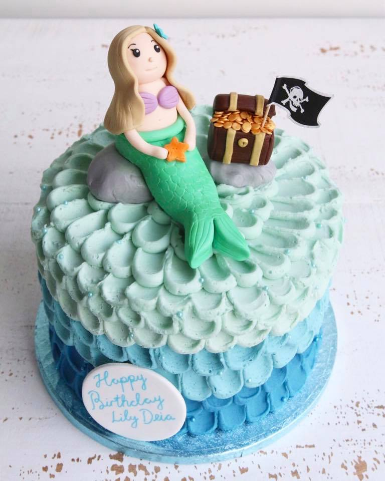 Mermaid & Pirate Treasure Chest Buttercream Cake
