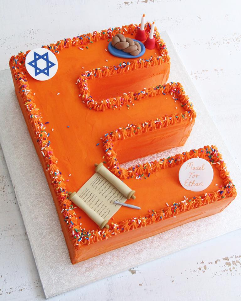 Letter number cakes claygate surrey afternoon crumbs orange letter e bar mitzvah cake altavistaventures Image collections