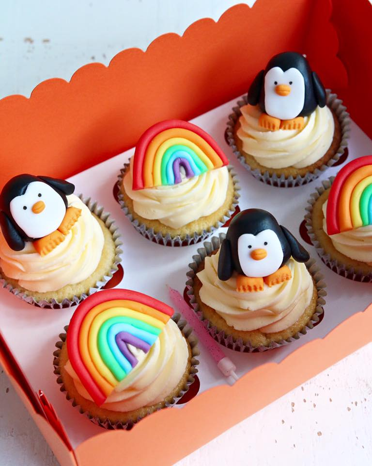 Penguin and Rainbow Cupcakes