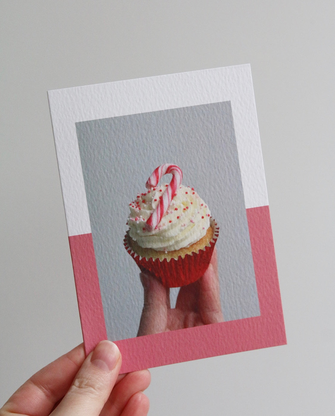 Candy Cane Cupcake Photo Christmas Card