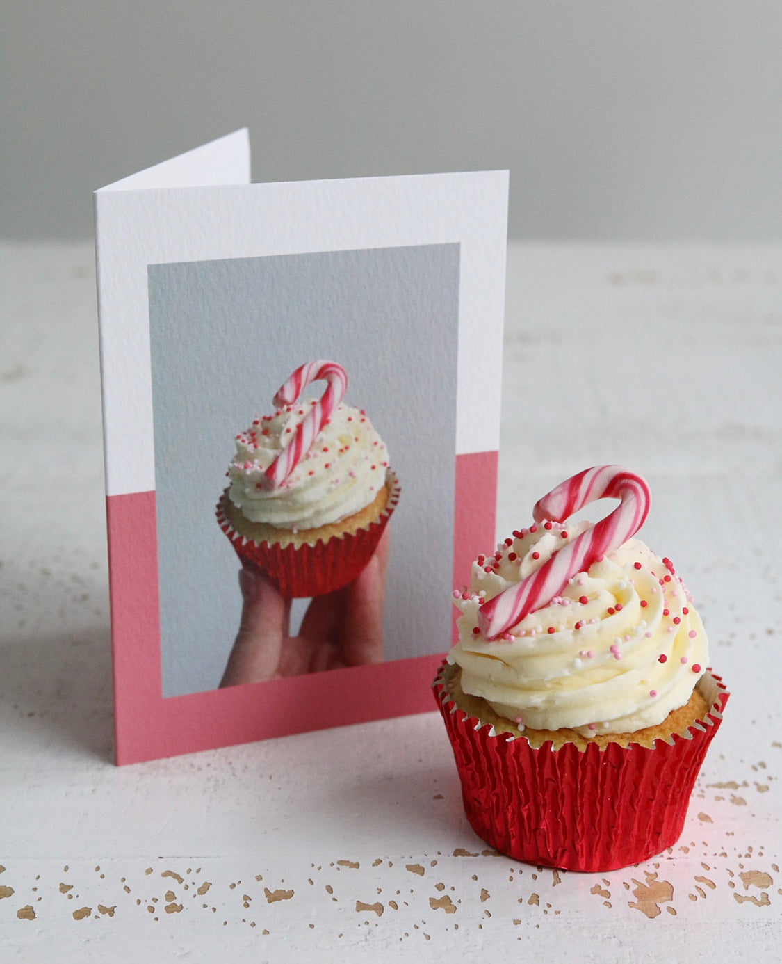 Candy Cane Cupcake with Candy Cane Cupcake Photo Christmas Card