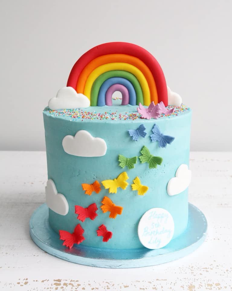 Blue Rainbow Butterflies Clouds Buttercream Cake