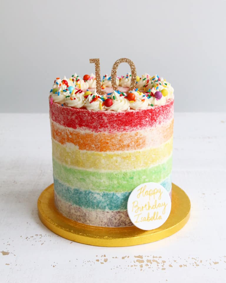Semi Naked Buttercream Rainbow Cake