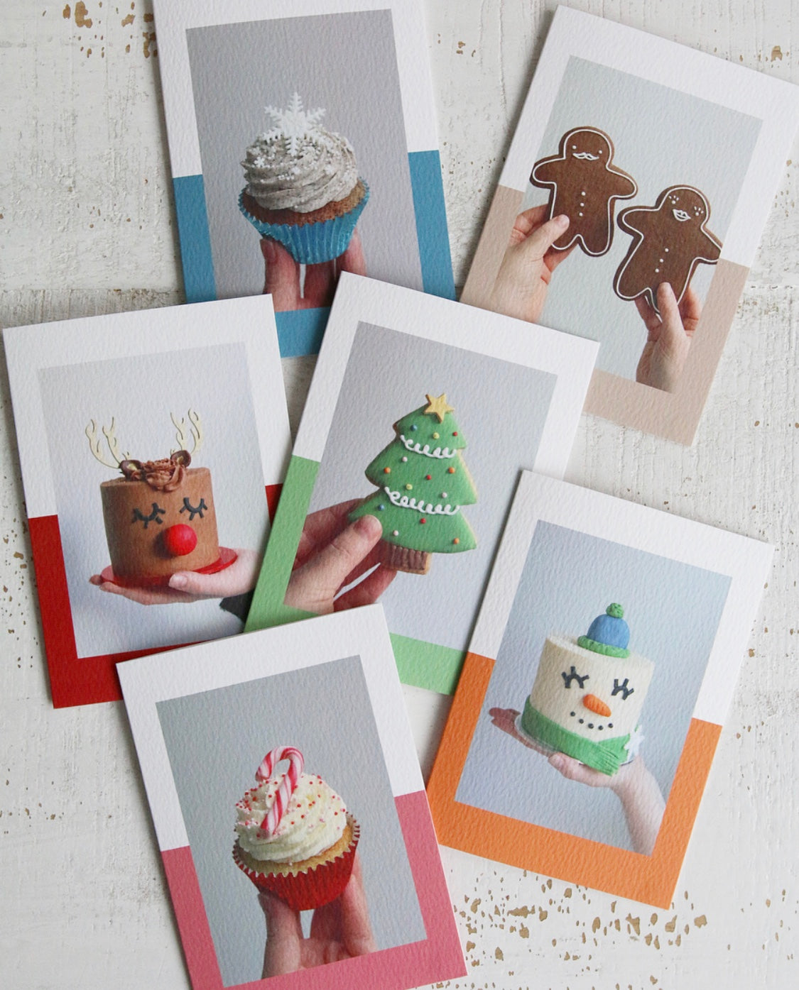 Selection of Christmas Cards with Photos of Cakes, Cupcakes and Biscuits