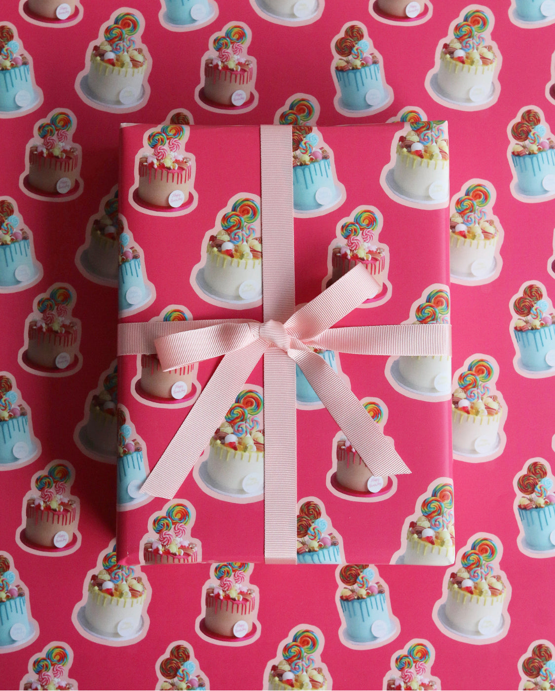 Sweetie Cake Pink Wrapping Paper tied with Ribbon