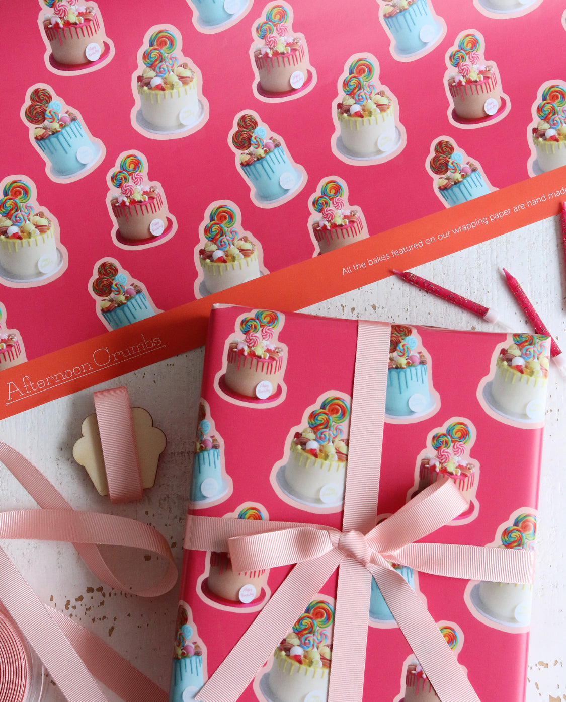Sweetie Cake Pink Wrapping Paper with logo tied with Ribbon