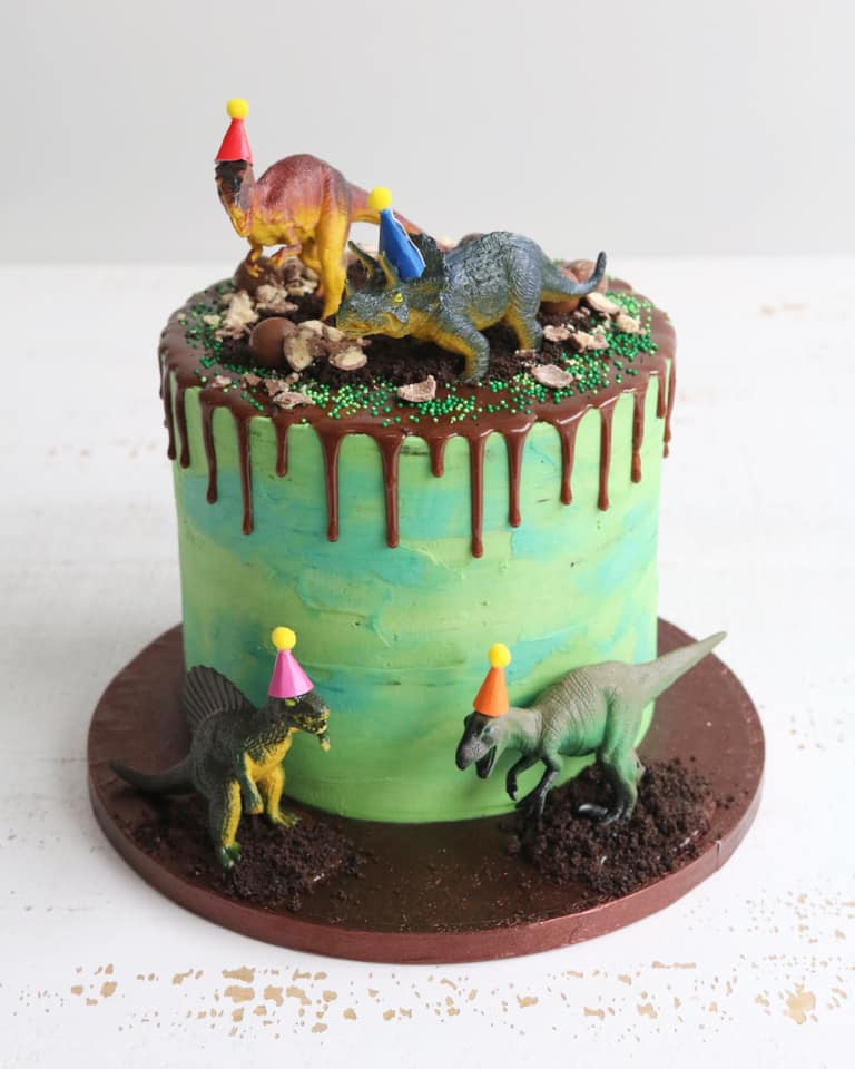 Green Dinosaur Party Hats Drip Cake