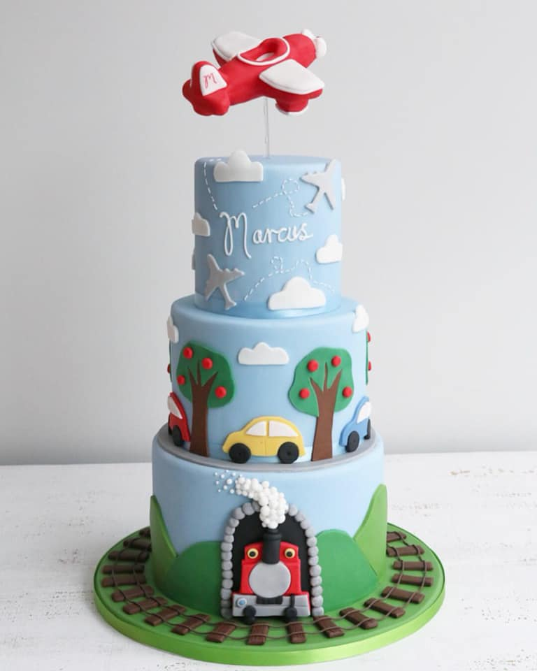 Fondant Trains, Planes & Cars Cake