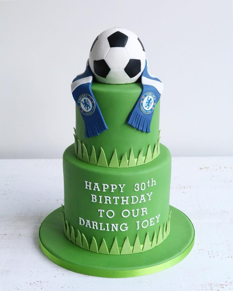 Fondant Two Tier Chelsea Football Cake