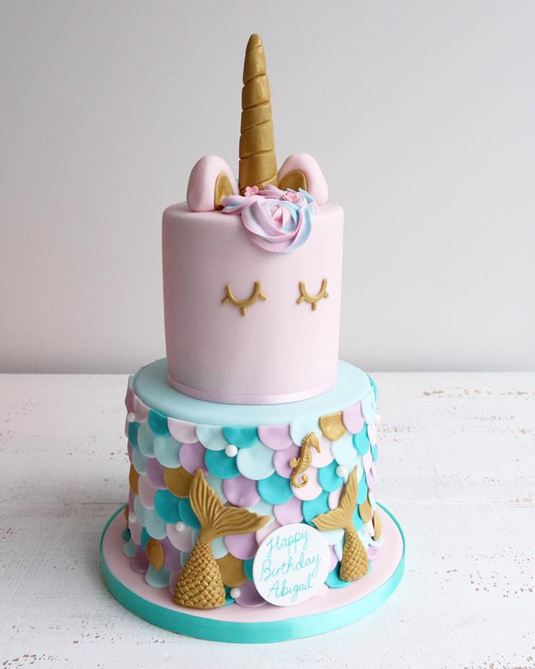 Mermaid and Unicorn Fondant Cake