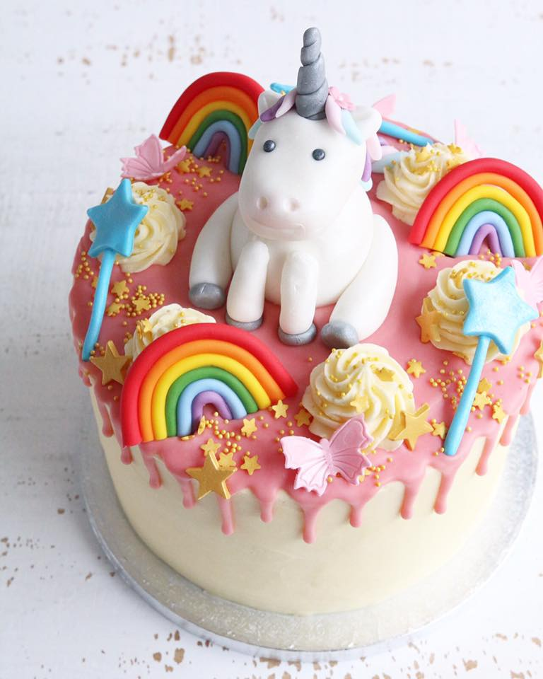 Rainbow Unicorn Wands Drip Cake
