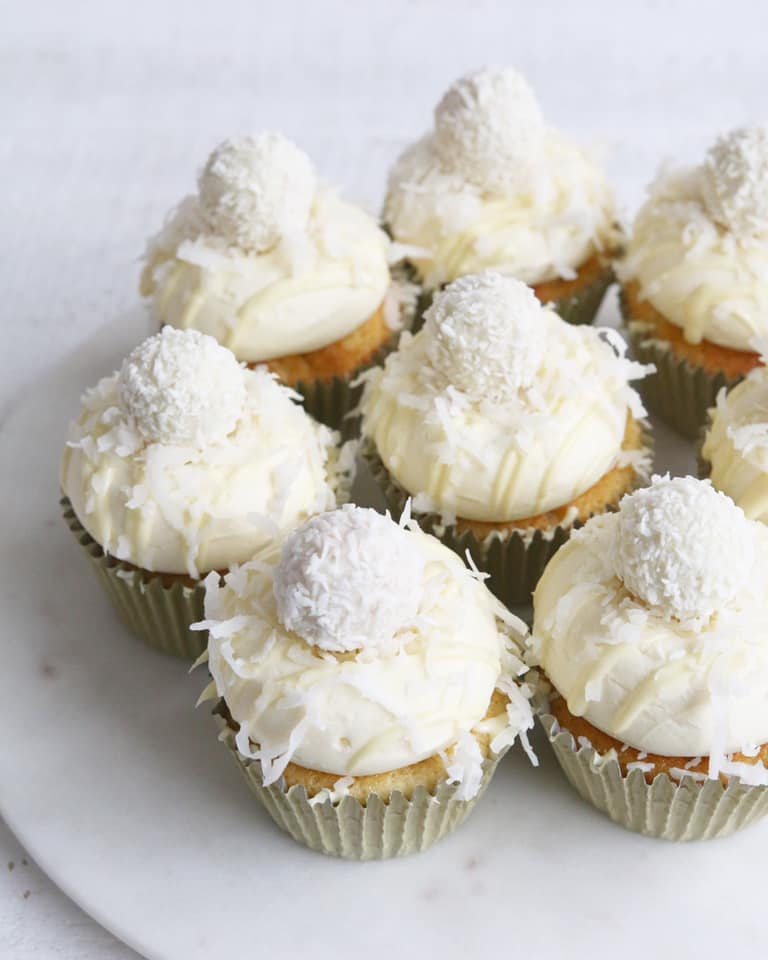 White Chocolate Coconut Cupcakes
