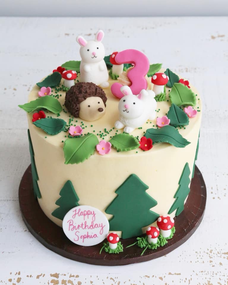 Woodland Animal Bunny and Hedgehog Birthday Cake
