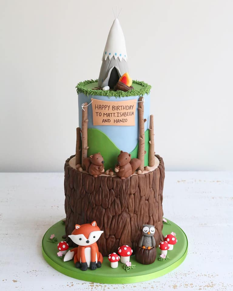 Woodland Camping Two Tier Fondant Cake