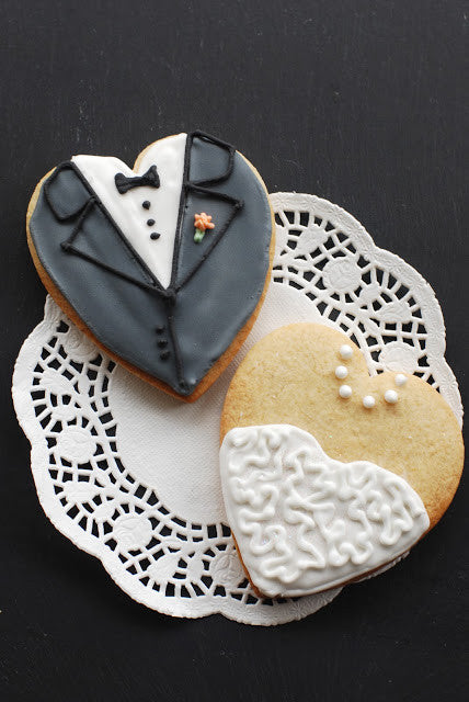 Bride and Groom Heart Shaped Biscuits