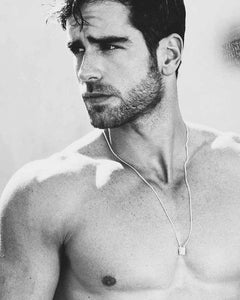 Male model wearing Think Positive Men's Necklace