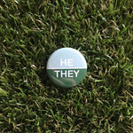 He/They button (mint/green)