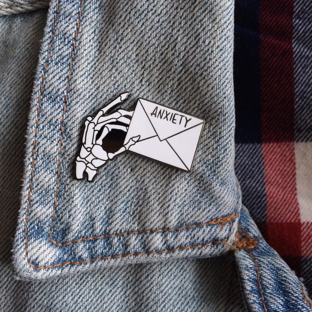 Anxiety enamel pin