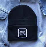 They/Them Patch Beanie--Black/White