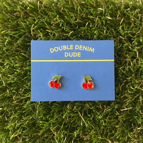 Cherry Earrings - Double Denim Dude